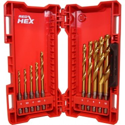 Shockwave Red Hex Σετ Τρυπάνια Τιτανίου 10 τεμαχίων